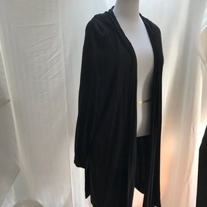 Oversize black lightweight duster with hoodie